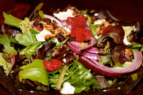Spring Salad with Raspberries, Dates & Goat Cheese