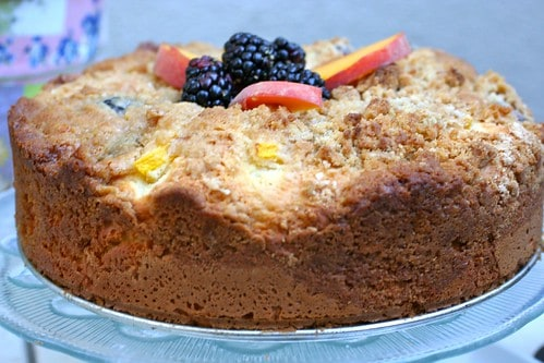 Plate with Peaches and Blackberry Coffee Cake