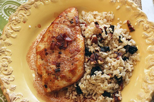 Chicken with Pomegranate Pan Sauce