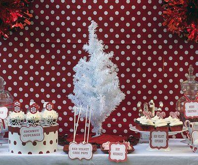 red and white christmas dessert bar