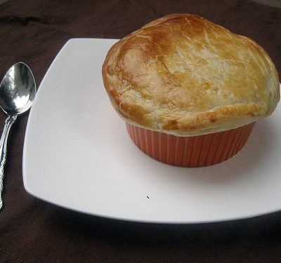 red pepper soup with puff pastry