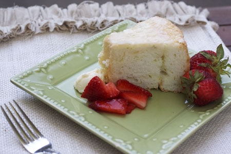 Lime Angel Food Cake with Strawberries and Lime Mascarpone
