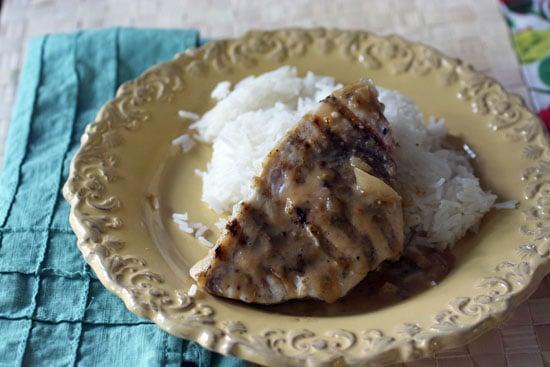 seared swordfish with lemongrass crust and thai peanut sauce