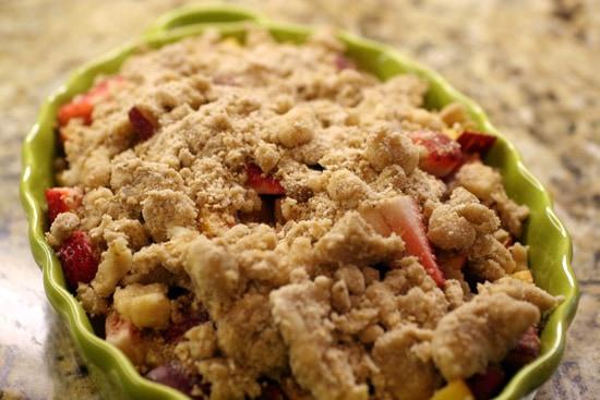 strawberry nectarine crumble pre-oven
