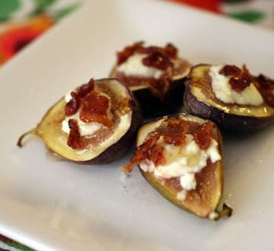 baked figs with goat cheese and bacon