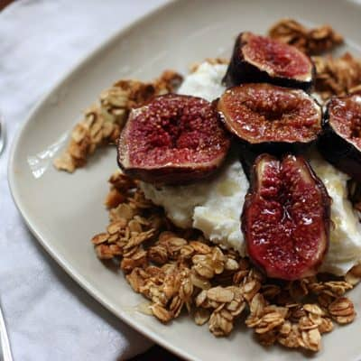 baked figs over yogurt and granol