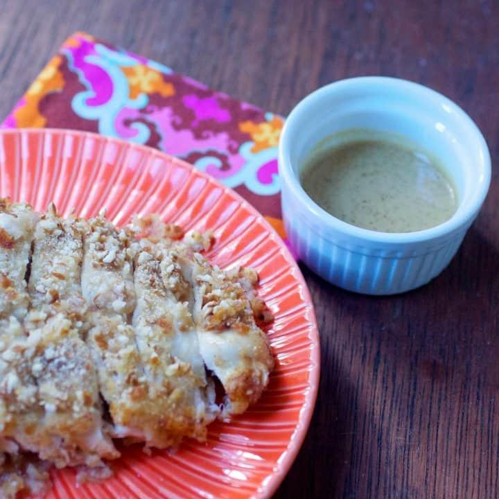 Pretzel chicken with mustard dressing