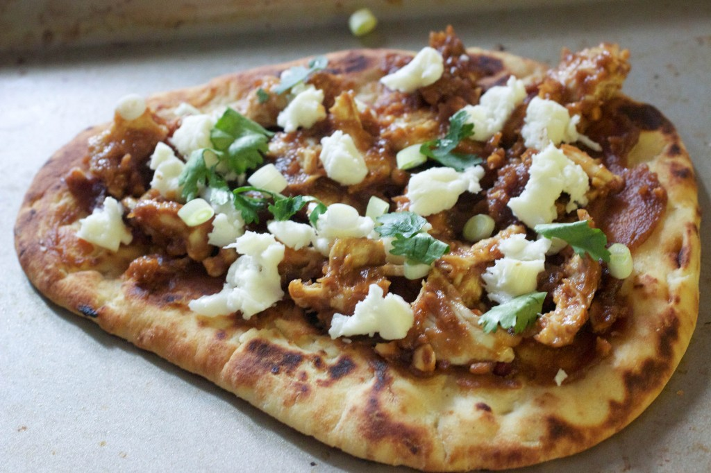 naan thai chicken pizza topped