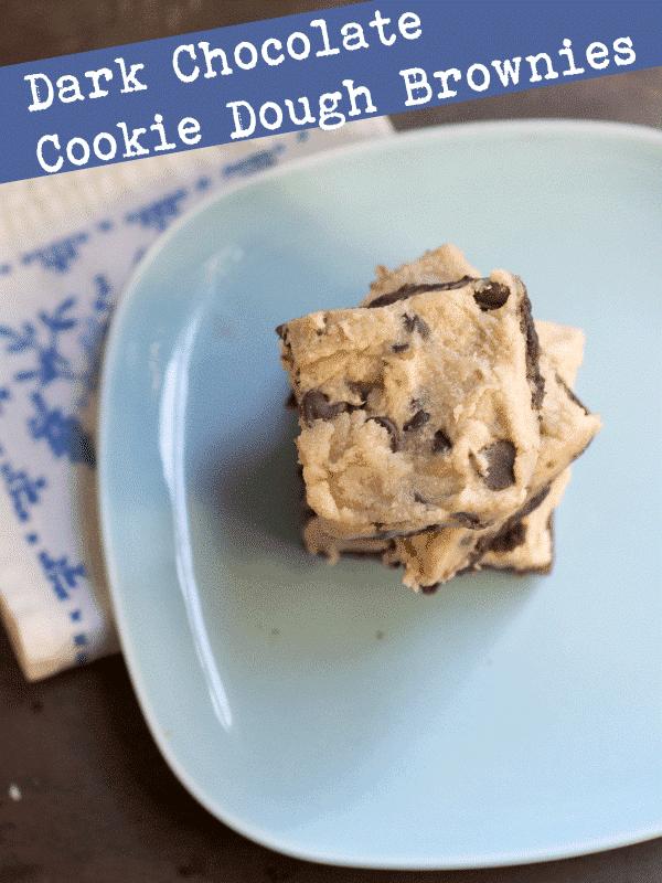plate of dark chocolate brownie, cookie dough brownie, brownie recipes