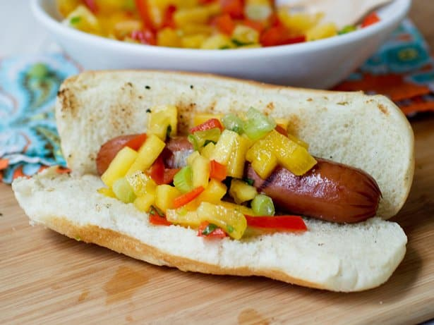 hot dog with peach pepper relish