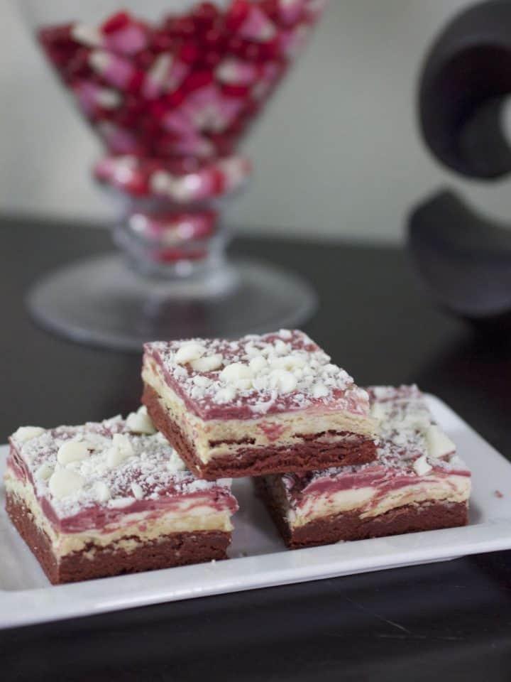 red velvet white chocolate truffle bars
