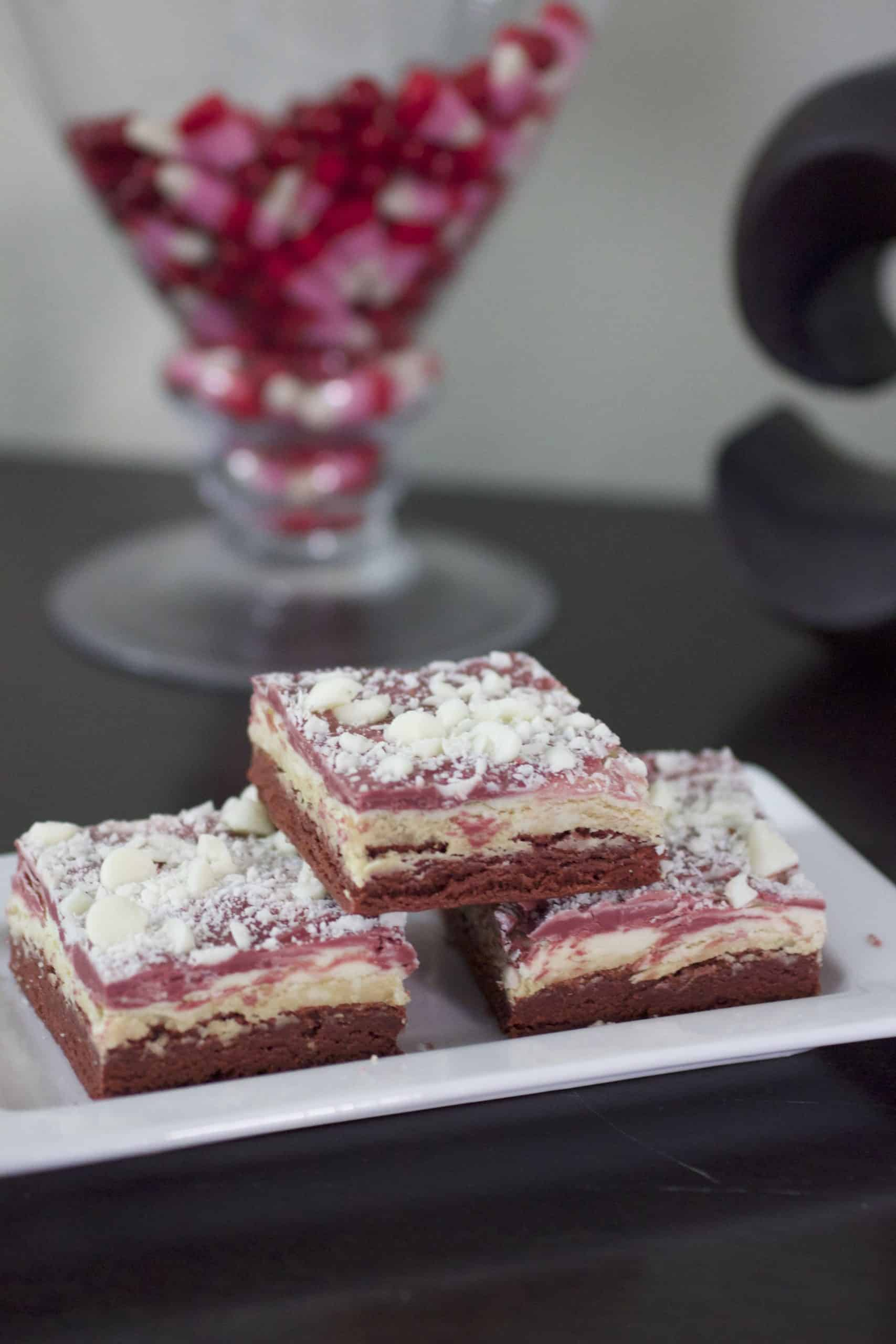 red velvet white chocolate truffle bars