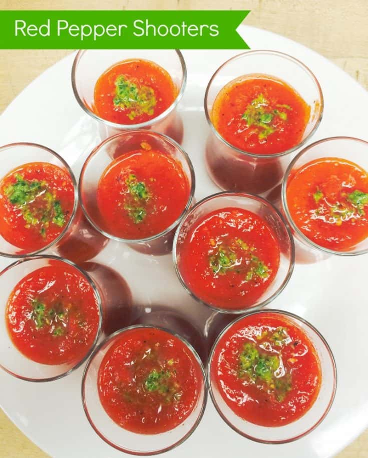 Chilled Red Pepper Shooters with Cilantro Pesto