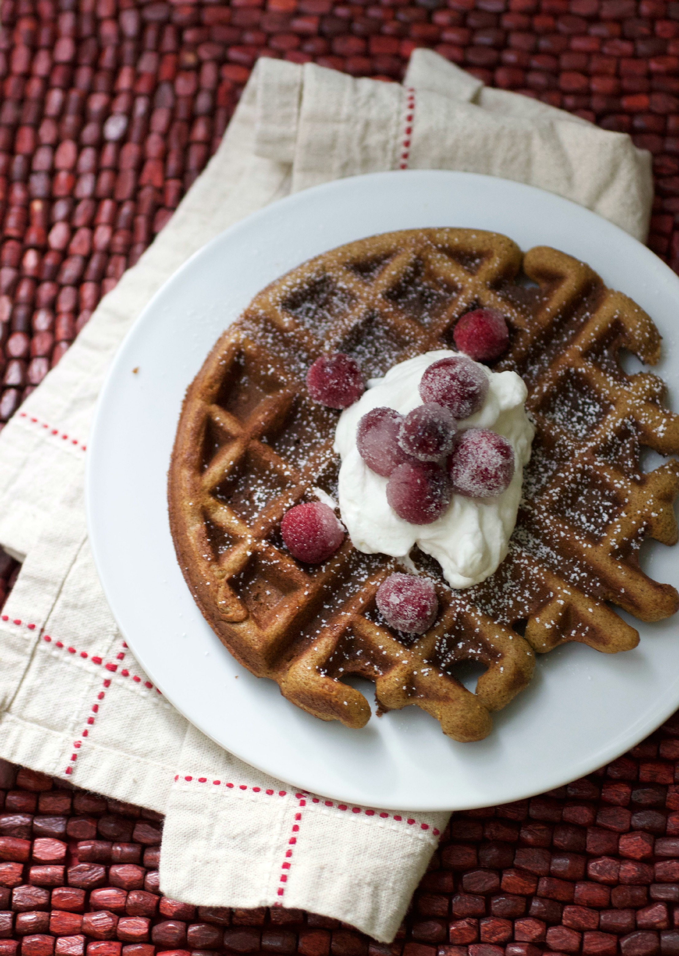 Gingerbread Waffles with Sugared Cranberries - Adventures in the ...