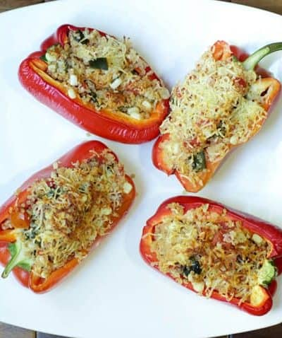 plate of mexican-quinoa-stuffed-peppers-with-hatch-chiles-and-corn