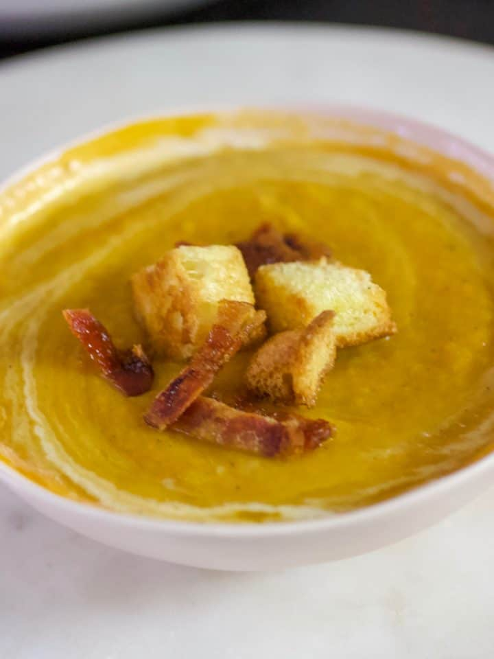A bowl of Curried Butternut Squash Pear Soup