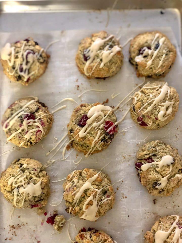 Tray of cranberry maple scones