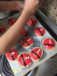 Piping Santa's Belly Sugar Cookies