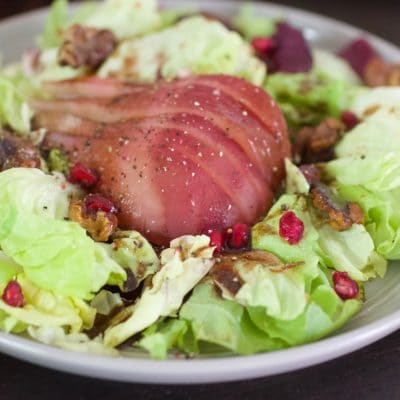 Butter Lettuce and poached pear salad