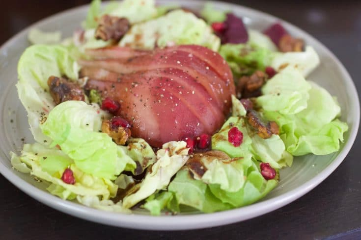 plate of Butter Lettuce and poached pear salad