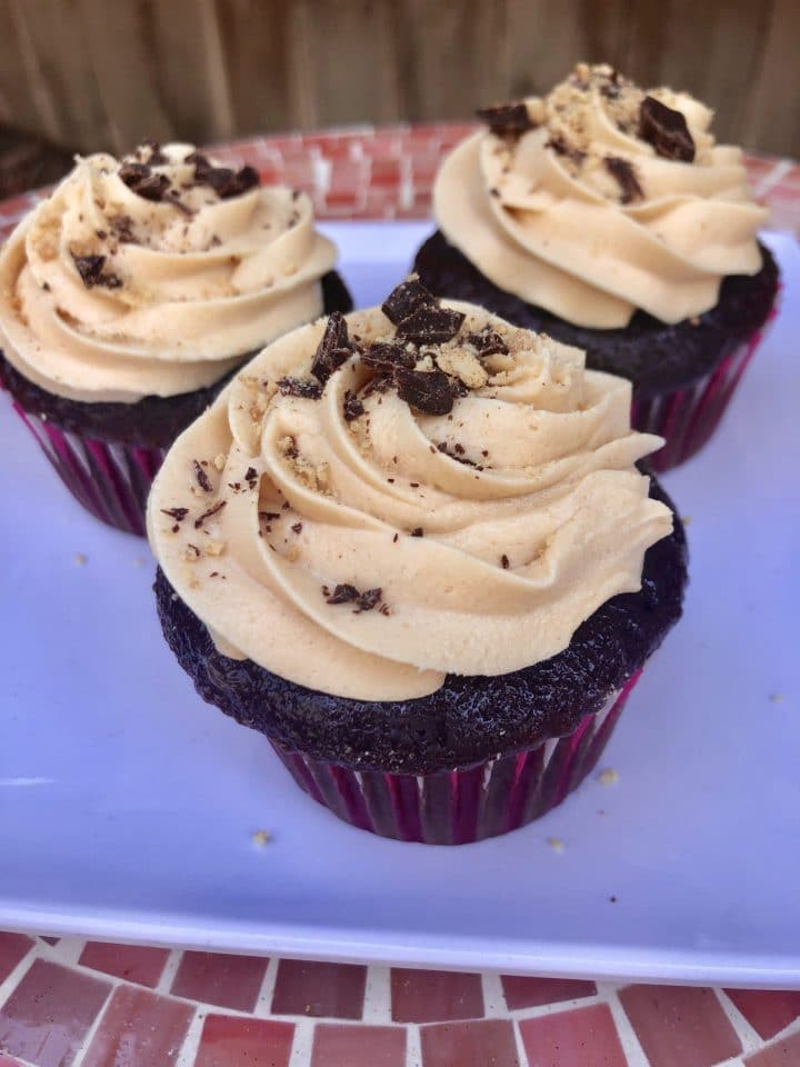 Three Mexican Chocolate Cupcakes on a plate