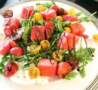 Plate of watermelon tomato salad