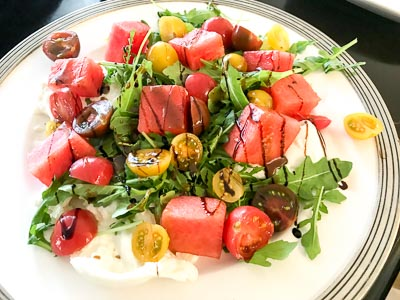 Plate of watermelon tomato salad