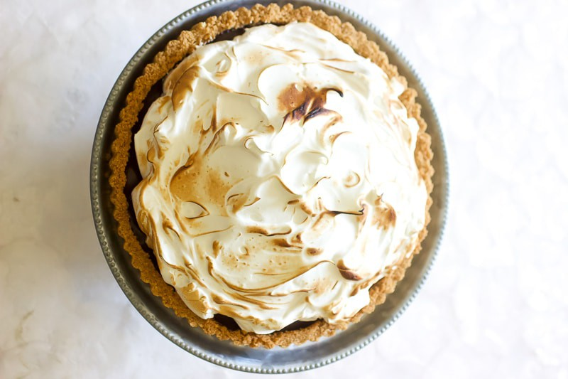 Overview of Salted Chocolate S'mores Tart with Toasted Marshmallow Meringue.