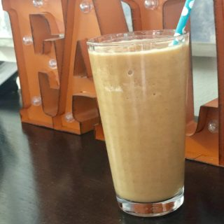glass of pumpkin spice protein shake
