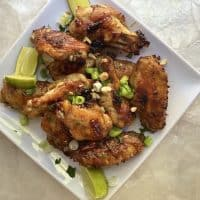 plate of baked sweet and spicy chicken wings,
