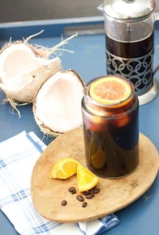container of coconut orange coffee