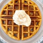 Plate with pumpkin waffle