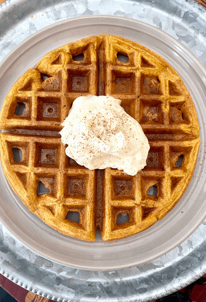 Plate with pumpkin waffle