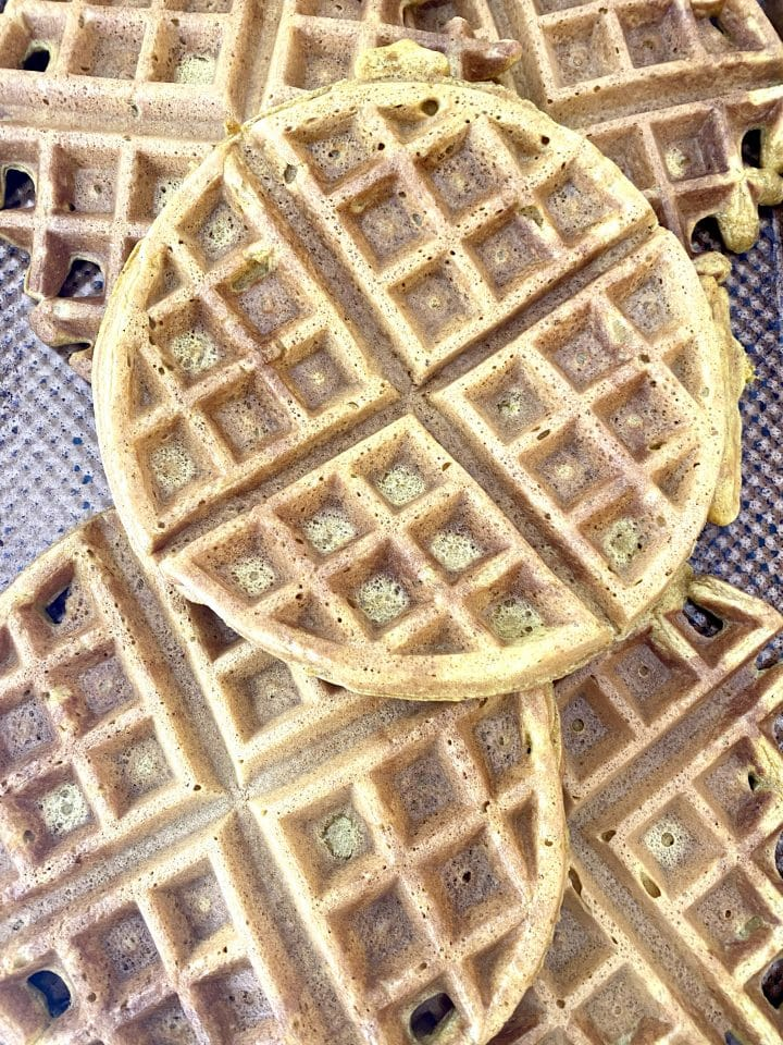 sheet pan of pumpkin spice waffles.