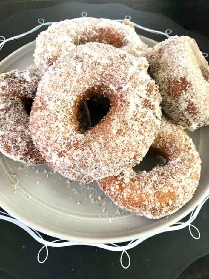 plate of apple cider donuts