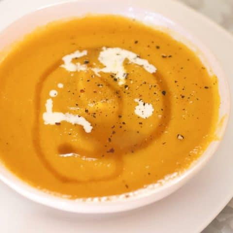 bowl of roasted butternut apple soup