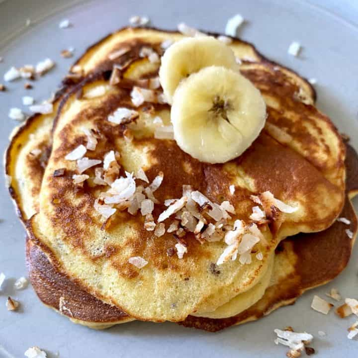 stack of Banana Protein Pancakes