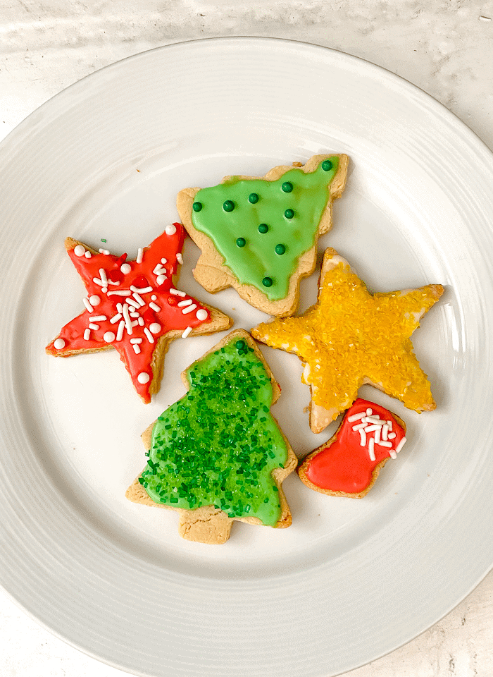 plate of vegan sugar cookies for the holidays.